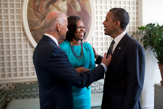 President Obama, First Lady Michelle Obama and Vice President Joe Biden talk in the West Garden Room