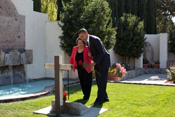 President Barack Obama and Helen Chavez in Keene, Calif., Oct. 8, 2012