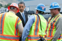 President Obama tours an American factory
