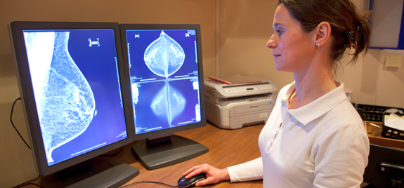 Doctor examining mammography images