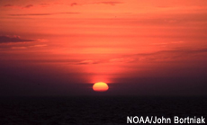 Photograph of the sun setting