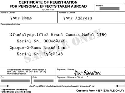 Certificate of Registration for Personal Effects Taken Abroad