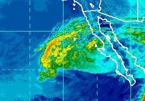 Photo: Tropical Storm Paul is skirting the southwest coast of Baja California Sur, centered this morning about 120 miles west-northwest of Loreto, Mexico. It's forecast to move northwest along the west coast of the Baja California Peninsula today.  Maximum sustained winds are 45 mph. Paul should weaken to a depression later today and a remnant low tonight. Get the latest on Paul, including warnings and graphics, on the NOAA NHC website at www.hurricanes .gov