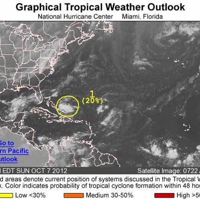 Photo: NHC is monitoring a weak low pressure system located this morning over the Atlantic Ocean about 100 miles east of the Turks and Caicos Islands. Some slow development is possible during the next few days before upper-level winds become unfavorable. There is a low chance of it becoming a tropical cyclone during the next 48 hours as it moves toward the west or west-northwest. Regardless of any development, the disturbance could produce heavy rainfall across portions of the Turks and Caicos Islands, as well as the southeastern and central Bahamas, during the next couple of days. Get the latest on the tropics anytime by visiting the NOAA NHC website at www.hurricanes.gov
