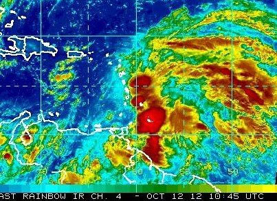 Photo: A broad area of low pressure is located over the eastern Caribbean Sea this morning, centered about 60 miles northwest of St. Lucia.  Although the system is likely producing winds to tropical  storm force in the rain bands, the satellite and surface data suggest that the low still does not have a closed circulation.  Upper-level winds are forecast to become more conducive for development, and it has a high chance of becoming a tropical cyclone during the next 48 hours while moving toward the northwest or north-northwest. A tropical storm warning could be required for portions of the Leeward Islands. Strong and gusty winds along with heavy rainfall are possible across portions of the Lesser Antilles during the next couple of days. A USAF Hurricane Hunter plane is scheduled to investigate the system this afternoon. Get the latest on the tropics anytime by visiting the NOAA NHC website at www.hurricanes.gov