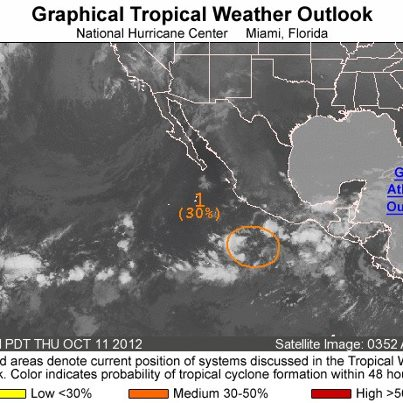 Photo: Over the eastern North Pacific Ocean this morning, a broad area of low pressure is located about 450 miles south-southwest of Acapulco, Mexico.  It has a medium chance of becoming a tropical cyclone during the next 48 hours as it moves slowly westward.  Get the latest on the tropics anytime by visiting the NOAA NHC website at www.hurricanes.gov
