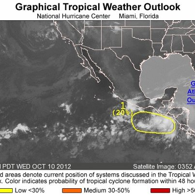 Photo: Across the eastern North Pacific basin this morning, a trough of low pressure is located off of the coast of Central America and Mexico. Some gradual development of this system is possible as it moves slowly westward, and it has a low chance of becoming a tropical cyclone during the next 48 hours. Get the latest on the tropics anytime by visiting the NOAA NHC website at www.hurricanes.gov