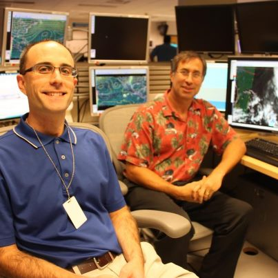 Photo: NHC welcomes Prof. Ryan Torn this week as part of our Visiting Scientist Program. Ryan's area of expertise includes tropical cyclone genesis, effects of uncertainty upon forecasts, and tropical cyclone data assimilation.  He is seen on the left side of this photo next to NHC Science and Operations Officer Dr. Chris Landsea. Read more about the program at http://www.nhc.noaa.gov/news/20120730_pa_visitingScientists.pdf