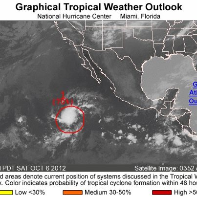 Photo: Over the eastern North Pacific basin this morning, an area of low pressure is located about 850 miles southwest of the southern tip of Baja California.  It has a high chance of becoming a tropical cyclone during the next 48 hours as it moves toward the west-northwest. Get the latest on the tropics by visiting the NOAA NHC website at www.hurricanes.gov