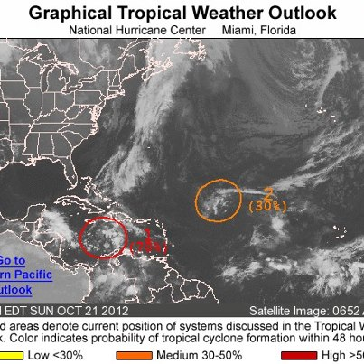 Photo: Showers and thunderstorms have been increasing during the past several hours near a tropical wave and associated area of low pressure located over the central Caribbean Sea. There remains a high chance of it becoming a tropical cyclone during the next 48 hours as it moves slowly toward the west. Heavy rains are likely to spread over Jamaica, eastern Cuba and Hispaniola during the next few days, possibly triggering life-threatening flash floods and mud slides, especially in areas of high terrain. Elsewhere, an upper-low interacting with a tropical wave is centered about 850 miles east-northeast of the Leeward Islands. It has a medium chance of becoming a tropical cyclone during the next 48 hours as it moves toward the west-northwest. Get the latest on the tropics anytime by visiting the NOAA NHC website at www.hurricanes.gov