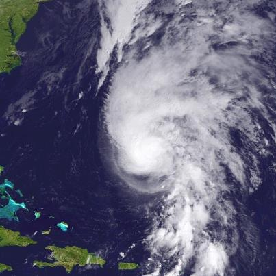 Photo: The outer rainbands of Hurricane Rafael are appoaching Bermuda at midday. The center is located about 255 miles south of Bermuda, moving toward the north-northeast at 24 mph. A turn toward the northeast at an even faster forward speed should occur by tomorrow. That will take the center of the hurricane east of Bermuda late this afternoon and evening. A Tropical Storm Warning continues for Bermuda.  Tropical storm conditions are epxected to begin there by this afternoon or evening. Sustained hurricane-force winds are not expected on the island. Maximum sustained winds are 90 mph, a solid Category One hurricane on the Saffir-Simpson Hurricane Wind Scale. Some weakening is forecast during the next 48 hours. Get the latest on this hurricane, including graphics, on the NOAA NHC website at www.hurricanes.gov