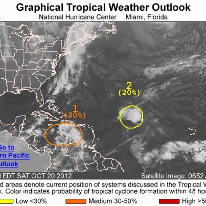 Photo: NHC continues to monitor two areas of disturbed weather this morning over the Atlantic basin. One is a tropical wave producing a large but disorganized area of clouds and thunderstorms between Hispaniola and northern South America. Environmental conditions are forecast to become more favorable for development, and the system has a medium chance of becoming a tropical cyclone during the next 48 hours as it moves west over the central and western Caribbean Sea. The other is a concentrated area of clouds and thunderstorms associated with a tropical wave interacting with an upper-low. It's centered about 1000 miles east-northeast of the Leeward Islands, and has a low chance of becoming a tropical cyclone during the next 48 hours as it moves toward the west-northwest. Meanwhile, the eastern North Pacific basin remains quiet. Get the latest on the tropics anytime by visiting the NOAA NHC website at www.hurricanes.gov