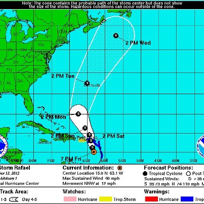Photo: NHC is now issuing advisories on newly formed Tropical Storm Rafael, centered about 125 miles west-southwest of Dominica. Tropical Storm Warnings have been issued for the British and U.S. Virgin Islands, as well as a number of islands in the Lesser Antilles. A Tropical Storm Watch includes Puerto Rico. Rafael is moving toward the north-northwest, with a turn toward the north expected on Saturday. On that forecast track, the center will move across the eastern Caribbean Sea tonight and be near or over the Virgin Islands Saturday or Saturday Night. Tropical storm conditions are expected in the warning area tonight and Saturday, and possibly in the watch area Saturday Night and Sunday. Maximum sustained winds are 40 mph. Some slow strengthening is possible Saturday through Sunday. Get the latest on the storm, including watches, warnings, and graphics, on the NOAA NHC website at www.hurricanes.gov