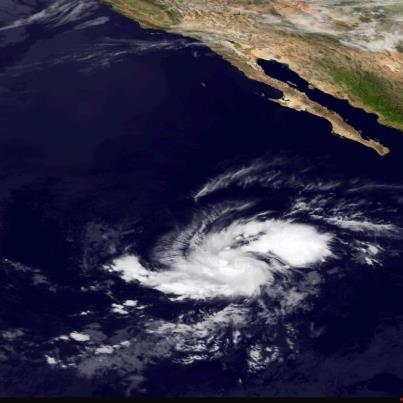 """Photo: NHC is issuing advisories on newly-formed Tropical Depression Fifteen-E over the eastern North Pacific Ocean. It's centered at midday about 845 miles southwest of the southern tip of Baja California. Maximum sustained winds are 35 mph. Little change in strength is expected today, but it could become a tropical storm on Sunday. The next name on the eastern North Pacific list is """"Olivia"""". The depression is forecast to move toward the west to northwest during the next 48 hours.  It is not a threat to land. Get the latest on this tropical cyclone, including graphics, on the NOAA NHC website at www.hurricanes.gov"""
