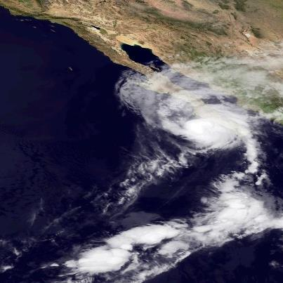Photo: Hurricane Paul is aiming toward the Baja California in a hurry, moving toward the north-northeast at 20 mph. A Hurricane Warning has been issued by the government of Mexico for the east coast of the Baja Peninsula from San Evaristo to Mulege, and continues on the west coast of the Peninsular from Santa Fe to Punta Abreojos. Preparations to protect life and property in the warning area should be rushed to completion. Hurricane conditions will begin there in just a few hours. Maximum sustained winds are 105 mph - a Category Two hurricane on the Saffir-Simpson Hurricane Wind Scale.  No significant change in strength is expected before landfall this afternoon. Get the very latest on this hurricane, including warnings, graphics, and expected impacts, on the NOAA NHC website at www.hurricanes.gov
