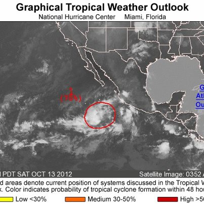 Photo: Over the eastern North Pacific Ocean this morning, an area of low pressure located about 500 miles south of the southern tip of Baja California is becoming better defined. This system has a high chance of becoming a tropical cyclone during the next 48 hours as it moves toward the west. Get the latest on the tropics anytime by visiting the NOAA NHC website at www.hurricanes.gov