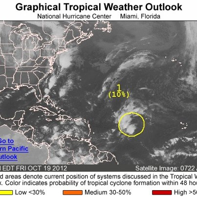 Photo: Over the Atlantic basin this morning, an area of disturbed weather associated with a tropical wave is located midday between the Cape Verde Islands and the Lesser Antilles. Development, if any, will be slow to occur.  The system has a low chance of becoming a tropical cyclone during the next 48 hours as it moves slowly toward the west-northwest or northwest. Meanwhile, the eastern North Pacific basin is quiet.   Get the latest on the tropics anytime by visiting the NOAA NHC  website at www.hurricanes.gov