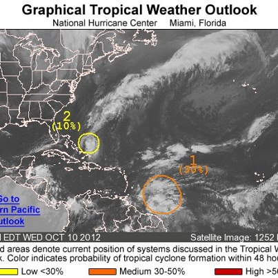 Photo: On this Wednesday afternoon, a tropical wave is located about 500 miles east of the Windward Islands. Some gradual development of this system is possible as it moves toward the west-northwest, and it has a medium chance of becoming a tropical cyclone during the next 48 hours. Regardless of development, gusty winds and heavy rainfall are possible over portions of the Lesser Antillies during the next couple of days. Elsewhere, a weak area of low prssure located a couple of hundred miles east of the central Bahamas has become a little better defined today. Environmental conditions are only marginally conducive for development during the next day or so before it merges with a cold front Thursday Night or Friday.  It has only a low chance becoming a tropical cyclone during the next 48 hours as it moves little. Get the latest on the tropics anytime by visiting the NOAA NHC website at www.hurricanes.gov   an weak area of low pressure is located a co