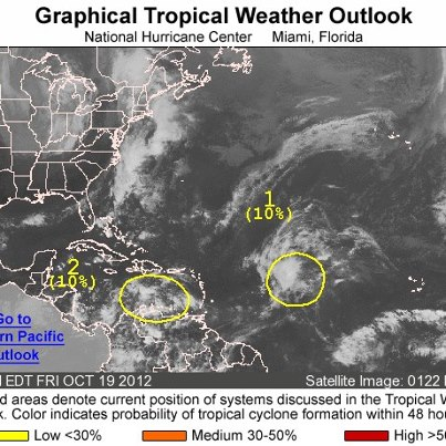 Photo: NHC is monitoring two areas of disturbed weather over the Atlantic basin on this Friday afternoon.  The first is a tropical wave located over the central Atlantic Ocean midway between the northern Lesser Antilles and the Cape Verde Islands. It's interacting with an upper-level low to produce widespread clouds and thunderstorms. The system has a low chance of becoming a tropical cyclone during the next 48 hours as it moves slowly toward the west-northwest or northwest. The second is an area of disturbed weather over the central and eastern Caribbean Sea associated with a westward-moving tropical wave. It also has a low chance of becoming a tropical cyclone during the next 48 hours. Get the latest on the tropics anytime by visiting the NOAA NHC website at www.hurricanes.gov