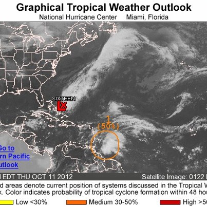 Photo: NHC is issuing advisories on Atlantic Tropical Depression Sixteen, located about 235 miles east-northeast of the central Bahamas. Elsewhere, a broad area of low pressure assocated with a tropical wave is located about 100 miles southeast of Barbados. The shower and thunderstorm activity continues to show some signs of organization, and the system has a medium chance of developing into a tropical cyclone during the next 48 hours as it moves toward the northwest. Regardless of development, strong gusty winds and heavy rainfall are possible over portions of  the Lesser Antilles during the next couple of days. Get the latest on the tropics anytime by visiting the NOAA NHC website at www.hurricanes.gov