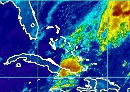 Photo: Tropical Depression Patty remains stalled this morning, centered over the southwest Atlantic Ocean about 280 miles east-northeast of the central Bahamas.   Maximum sustained winds are 35 mph. Strong southwesterly wind shear will continue to weaken the depression, and Patty should become a remnant low later today before dissipating by tomorrow.   Get the latest on this system, including graphics, on the NOAA NHC website at www.hurricanes.gov