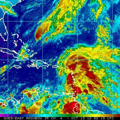 Photo: Tropical Storm Rafael is spreading heavy rain over the Lesser Antilles tonight. It's centered over the eastern Caribbean Sea about 140 miles west of Dominica, moving toward the northwest at 10 mph. On the forecast track, the center will move across the eastern Caribbean Sea overnight tonight and Saturday and be near or over the Virgin Islands Saturday Night. Tropical Storm Warnings continue for the British and U.S. Virgin Islands, as well as a number of islands in the Lesser Antilles. A Tropical Storm Watch includes Puerto Rico. Tropical storm conditions are expected in the warning area overnight and Saturday, and possibly in the watch area Saturday Night and Sunday. Maximum sustained winds are 40 mph. Some slow strengthening is possible Saturday through Sunday. Get the latest on the storm, including watches, warnings, and graphics, on the NOAA NHC website at www.hurricanes.gov