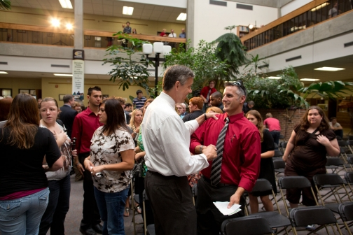 Secretary Duncan Greets a Member of the Audience