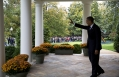 President Obama Waves From The Colonnade