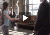 "Screenshot of woman in train station from ""If You See Something, Say Something"" PSA"