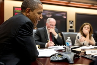 President Barack Obama participates in a conference call with electric utility executives to discuss the restoration of power for those who lost electricity during Hurrican Sandy, in the Situation Room of the White House, Oct. 30, 2012. John Brennan, Assistant to the President for Homeland Security and Counterterrorism, and Alyssa Mastromonaco, Deputy Chief of Staff for Ops, listen at right. (Official White House Photo by Pete Souza)