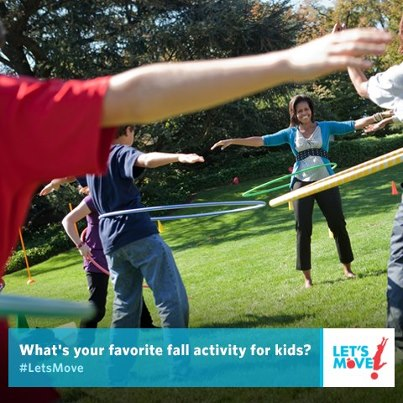 Photo: Tell us your favorite fall activity to get kids moving, and then check out http://LetsMove.gov where we'll be highlighting some of our favorites.