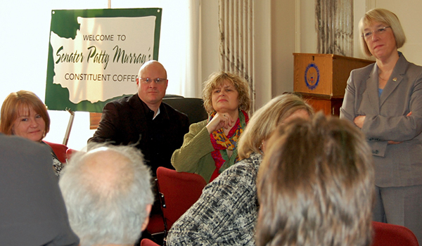 Senator Murray meets with constituents at her Wednesday morning weekly coffee.