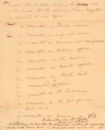 1816 Handwritten Senate Resolution to Establish Standing Committees