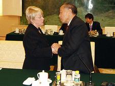Greeting Li Zhaoxing, Chairman of the National People's Congress  Foreign Affairs Committee