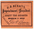 Image: Ticket, 1868 Impeachment Trial, United States Senate Chamber (Cat. no. 16.00062.001)