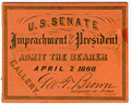 Image: Ticket, 1868 Impeachment Trial, United States Senate Chamber (Cat. no. 16.00065.000)
