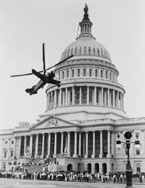 Autogiro airplane in front of Capitol