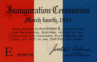 Image of the front of the 1933 Inauguration Ticket