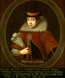 Pocahontas by Unknown after an unidentified artist, English School, after the 1616 engraving by Simon van de Passe (1595 ca.-1647)