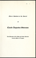 Image:  Order of Services, 1939 Claude A. Swanson Funeral (Cat. no. 11.00004.00g)
