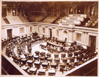 [U.S. Senate Chamber with Isaac Bassett and Pages]