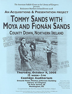 Tommy Sands with Moya and Fionán Sands event flyer