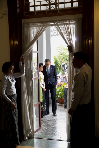 President Barack Obama walks with Burmese Opposition Leader Aung San Suu Kyi following their statements to the press at her home in Rangoon, Burma, Nov. 19, 2012. (Official White House Photo by Pete Souza)