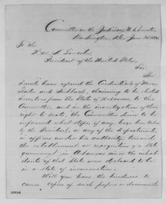 Letter of Chairman Lyman Trumbull to Abraham Lincoln 6-15-1864