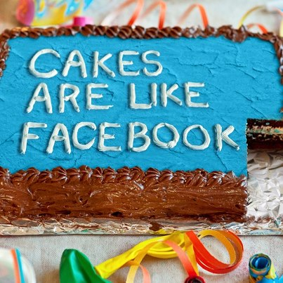 Photo: Birthday cakes are made for people to be together. They give friends a place to gather and celebrate. But too much cake probably isn't healthy. So birthday cake is a lot like Facebook.