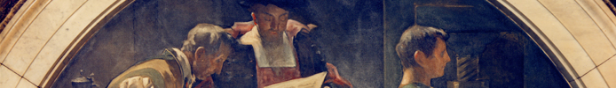 detail of a historical painting of men looking at a manuscript