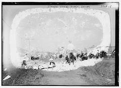 Strikers stoning guards, Bayonne  (LOC)