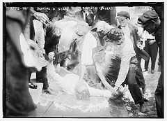 Beating a scab, Bayonne (posed)  (LOC)