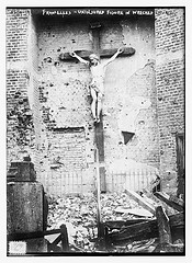 Fromelles - Uninjured figure in wrecked church  (LOC)