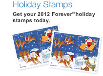 Holiday Stamps. Get your 2012 Forever® holiday stamps today. Shop Now. Image of Santa and Sleigh Forever stamps.